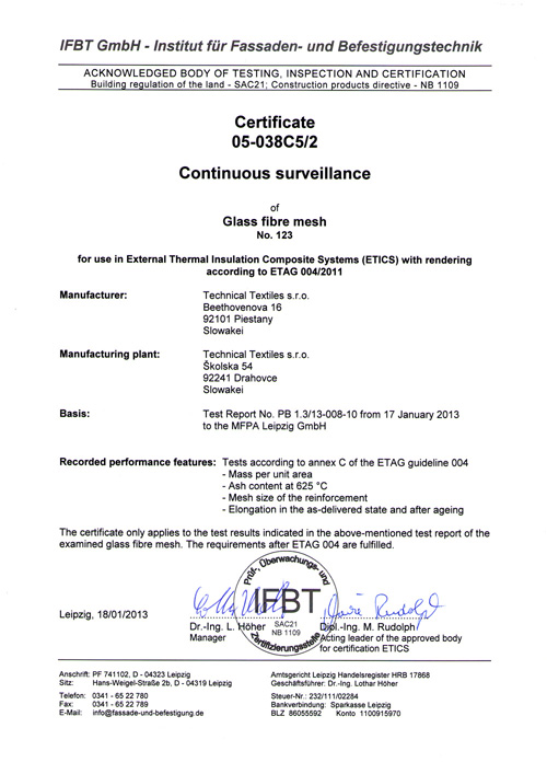 Technical Textiles - Certificates