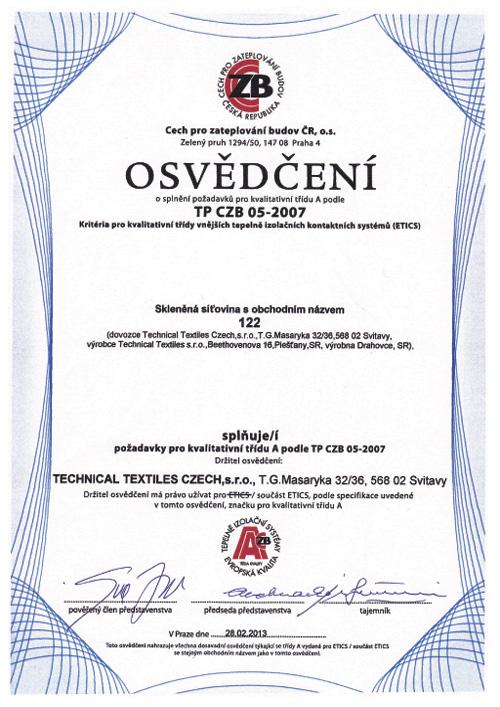 Technical Textiles - Certifikáty