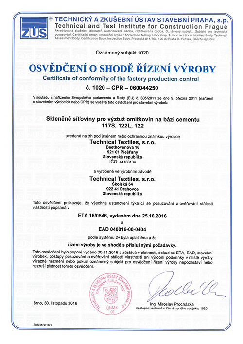 Technical Textiles - CertificatesA